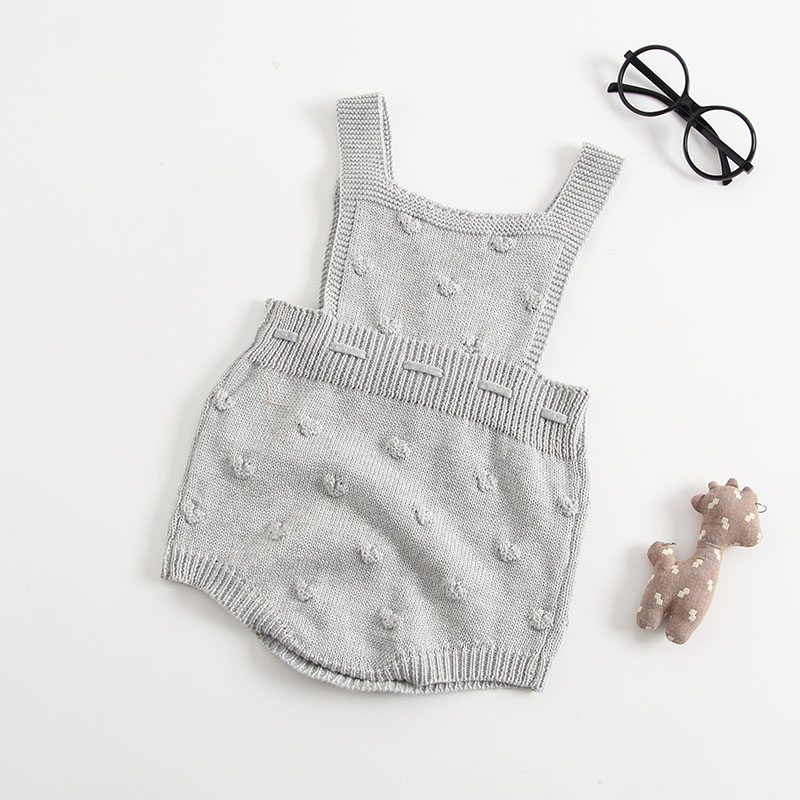 INS Summer Knitted Rompers Newborn In Baby Girls\' Rompers&Jumpsuit Vest Top Tee Kids Boys Gray Rompers 0-3 Years Girl Clothing (2)