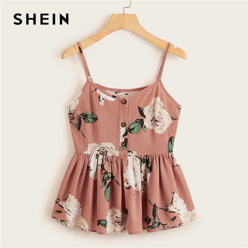 SHEIN Multicolor Large Floral Ruffle Hem Cami Top Women Summer Button Front Adjustable Spaghetti Strap Sleeveless Boho Cute Tops