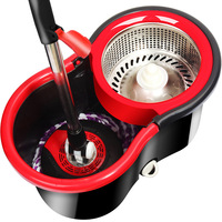 Quality Goods 100 Good Life Red Black Mini- Barrel Stainless Steel Basket Mop Rotating Mop Mop Wholesale Good Drag Manufactor