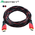 High Speed HDMI Cable Gold Plated Connection HDMI to HDMI cable with Red, black and white mesh 1080P,1m,1.5m,1.8m,3m,5m,10m