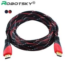 High Speed HDMI Kabel mit Vergoldeten Anschluss HDMI zu HDMI kabel mit Rot, schwarz und weiß mesh 1080 P, 1 mt, 1,5 mt, 1,8 mt, 3 mt, 5 mt, 10 mt(China (Mainland))