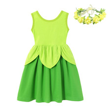 Girls Tink Dress Kids Princess Party Up Costumes Fairy Tales Green Leaf Clothes Children Summer Bell Cosplay Frock