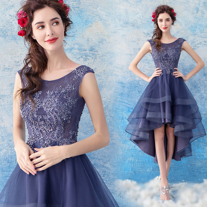 2018 new stock plus size women pregnant   bridesmaid     dresses   wedding party High low lace backless sexy romantic cheap blue   dress