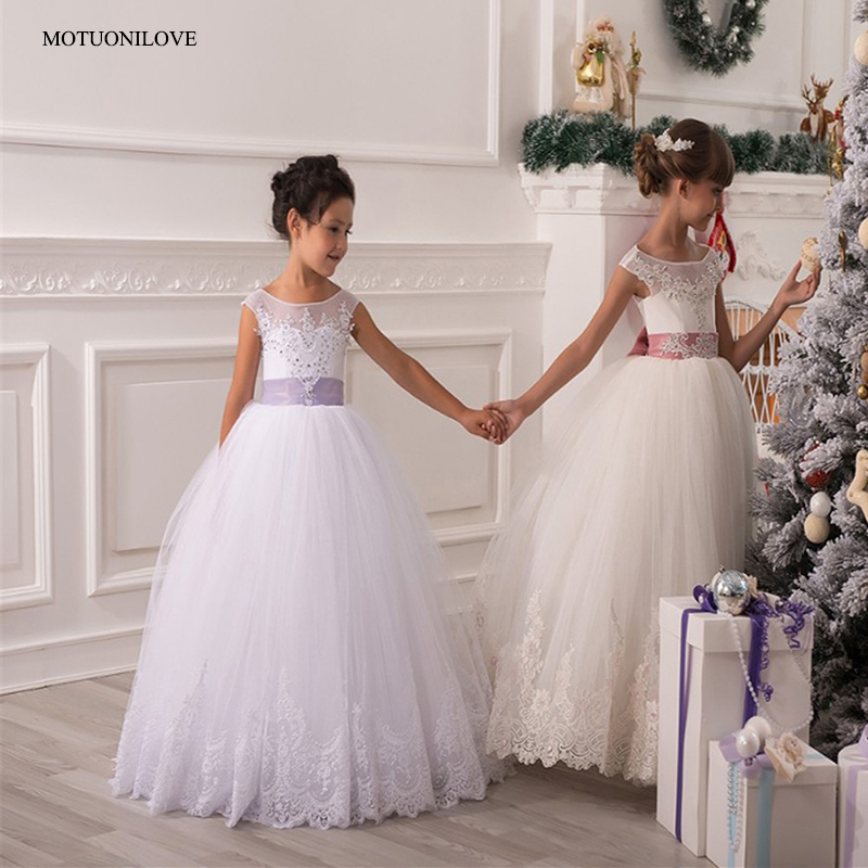 Primera Comunion Ball Gowns   Flower     Girls     Dresses   For Weddings Party Lace Appliques Beaded With Bow Train Little Bride   Dresses