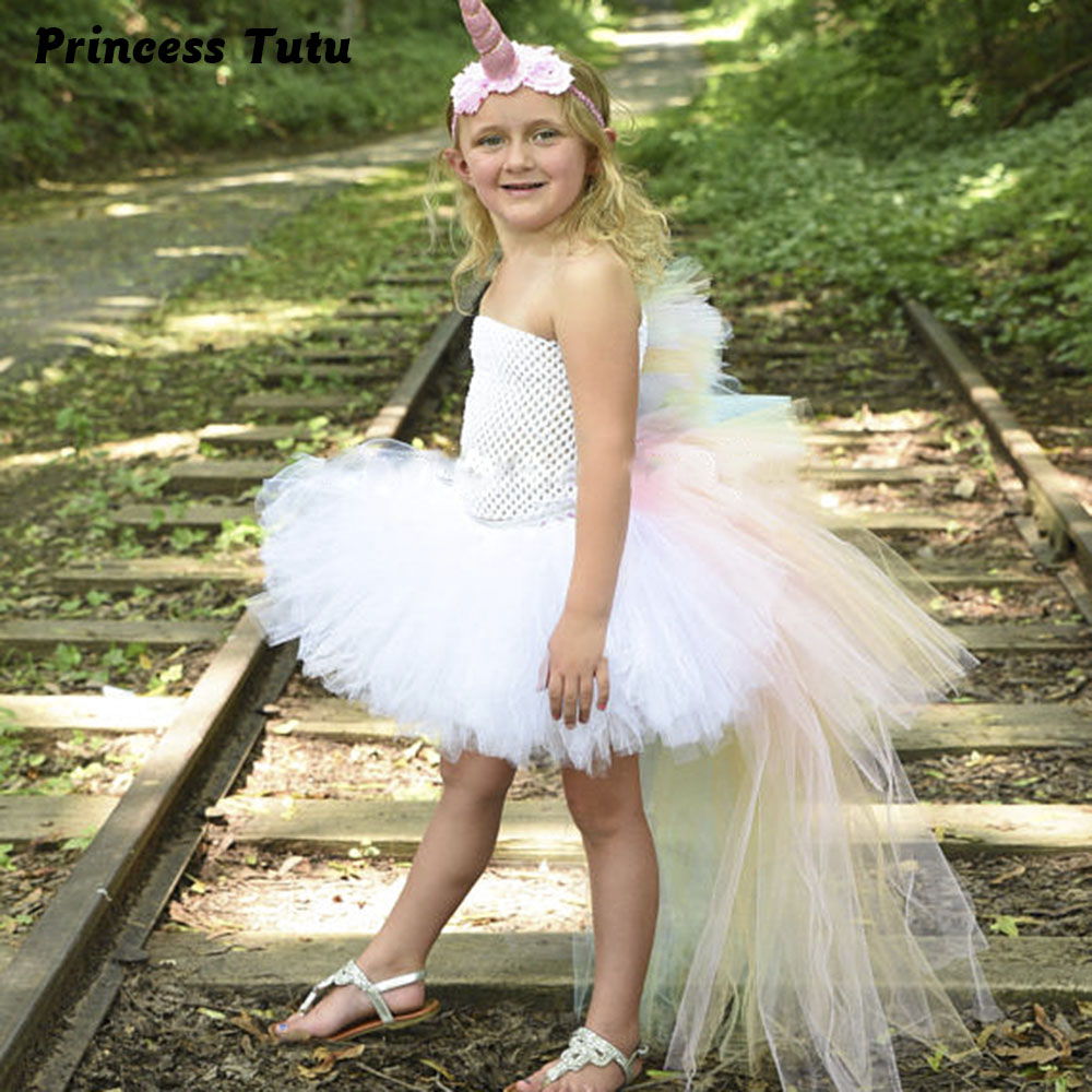 Rainbow Bustle Unicorn Girl Tutu Dress Princess Girls Pony Birthday Party Costume Special Occasion Tutu Dresses With Headband 1set baby girl polka dot headband romper tutu outfit party birthday costume 6 colors