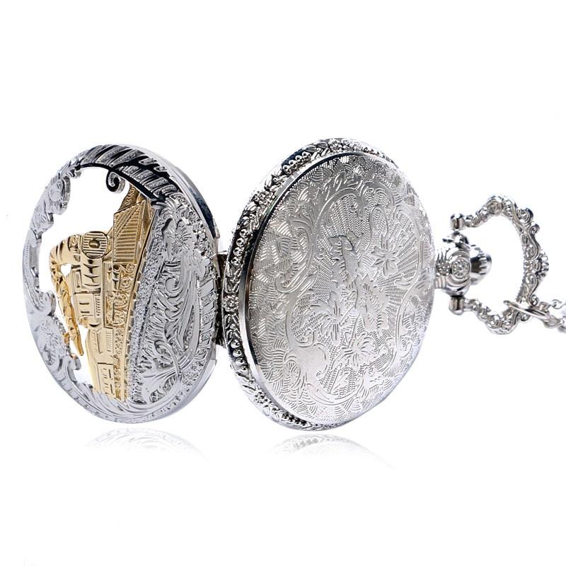 Sølvfarvet Vintage Retro Train Hollow Pocket Watch Quartz ure med - Lommeur - Foto 5