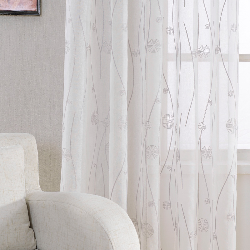 New Embroidered White Sheer Curtains For Living Room Bedroom Abstract Pattern Window Tulle