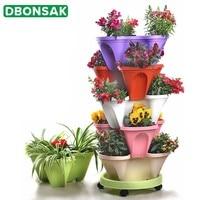 4 layer Stereo Strawberry Planting Flower Pot Vegetable Fruit Planter Balcony Succulent Pots Home Garden Decoration Nursery Pots