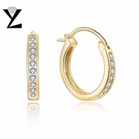Charms Fashion Round Earring 925 Silver Yellow Gold Plated Small Hoop Earrings For Women With Cubic