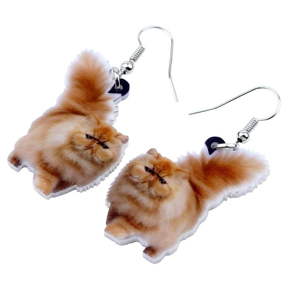 Bonsny Akrilik Berbulu Lemak Kucing Anting-Anting Besar Panjang Menjuntai DROP Indah Hewan Perhiasan untuk Wanita Gadis Wanita Hadiah Anak-anak massal