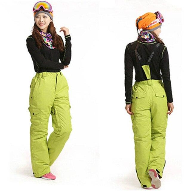 Femmes Snowboard pantalon femme-30 degrés neige pantalon avec sangles filles pantalon hiver extérieur imperméable respirant ski pantalon