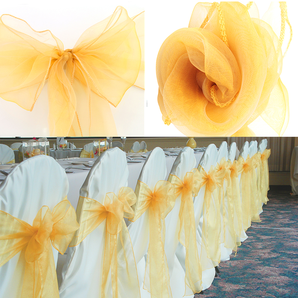1Pcs Organza Wedding Chairs Knot Cover Bow Decoration Chair Sashes Bands Chair Belt Ties For Weddings