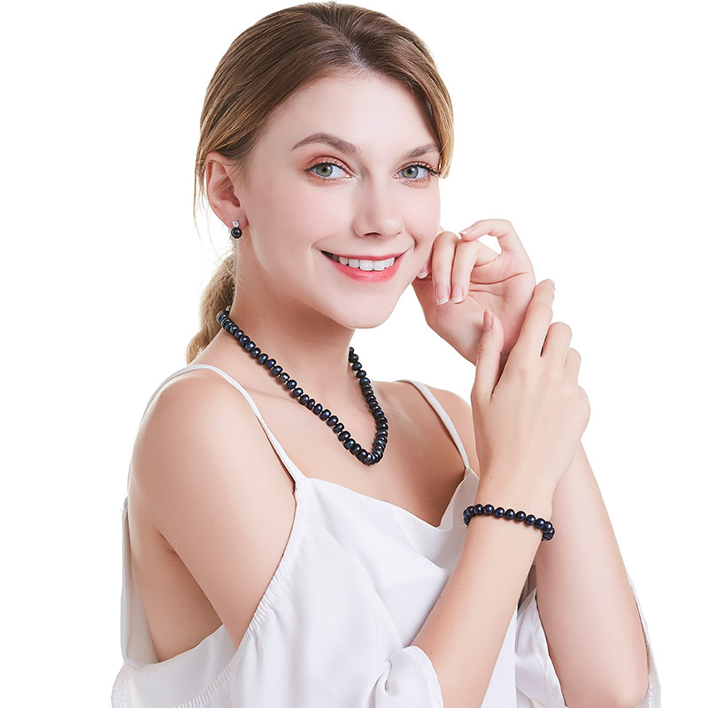 HTB1wAF5afc3T1VjSZLeq6zZsVXa4 HENGSHENG 2019 New Black Natural Pearl Bracelet For Women,9-9.5 mm Big Bread Round Freshwater Pearl With Cute Love Shape Buckle