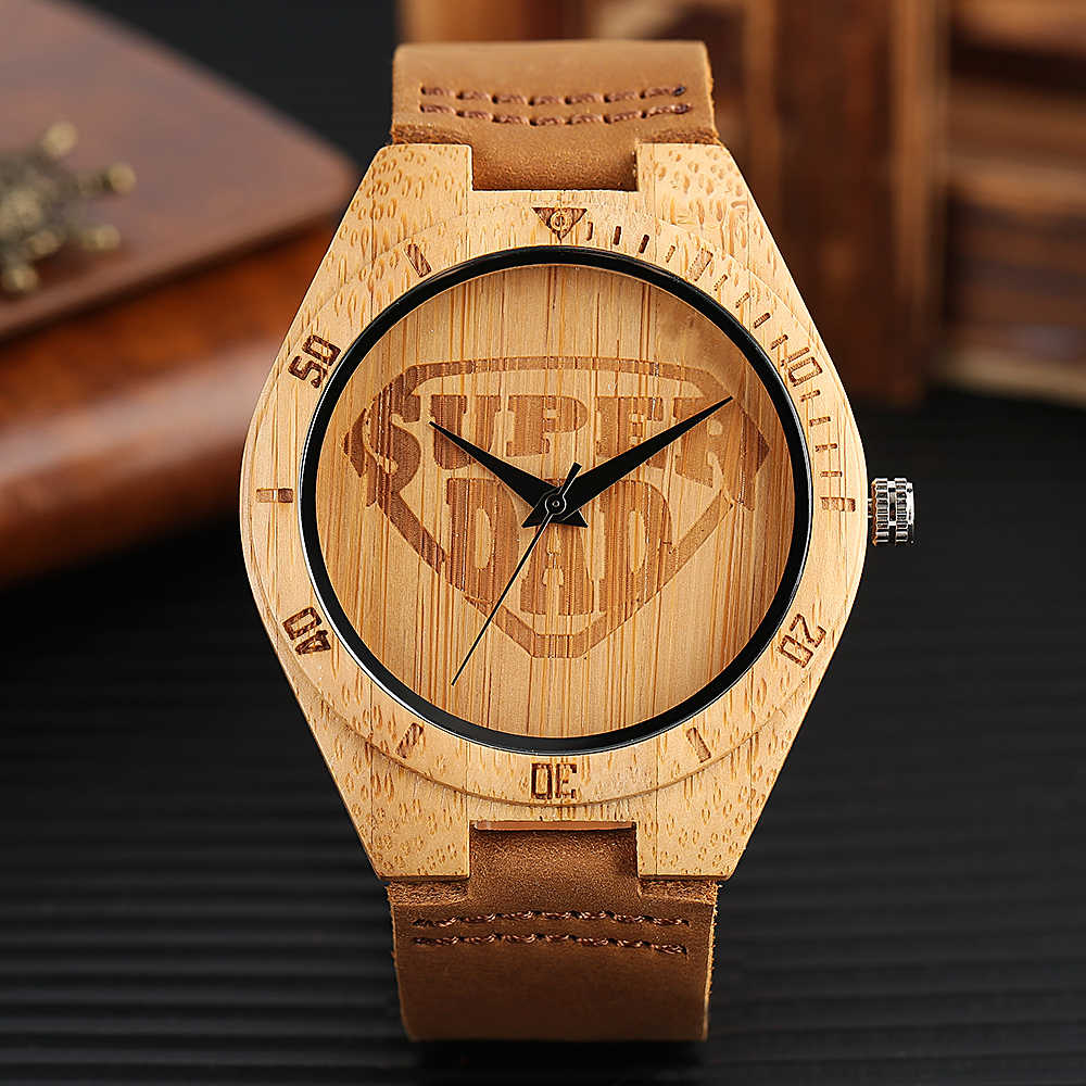 Nature Wooden Watches Super Dad Pattern Casual Bamboo Wood Men's Wrist Watch Gift Casual Genuine Leather Band Strap Quartz Watch