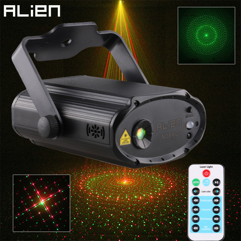 ALIEN Remote RG 8 Patterns Mini Laser Light Projector DJ Disco Party Holiday Xmas Dance Sound Activated Stage Lighting Effect alien 64 patterns rg remote laser stage projector lighting effect dj disco party christmas holiday with rgb led water wave light