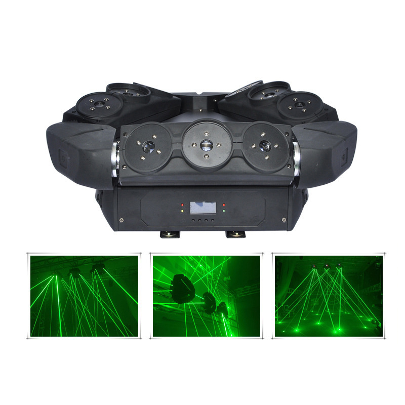 AUCD 9 Eyes Green Moving Head Spider Beam Laser Light DMX Master-slave Professional Stage Lighting for DJ Party Club Show DJ109G 9 moving head laser spider light green color 50mw 9 triangle spider moving head light laser dj light disco club event
