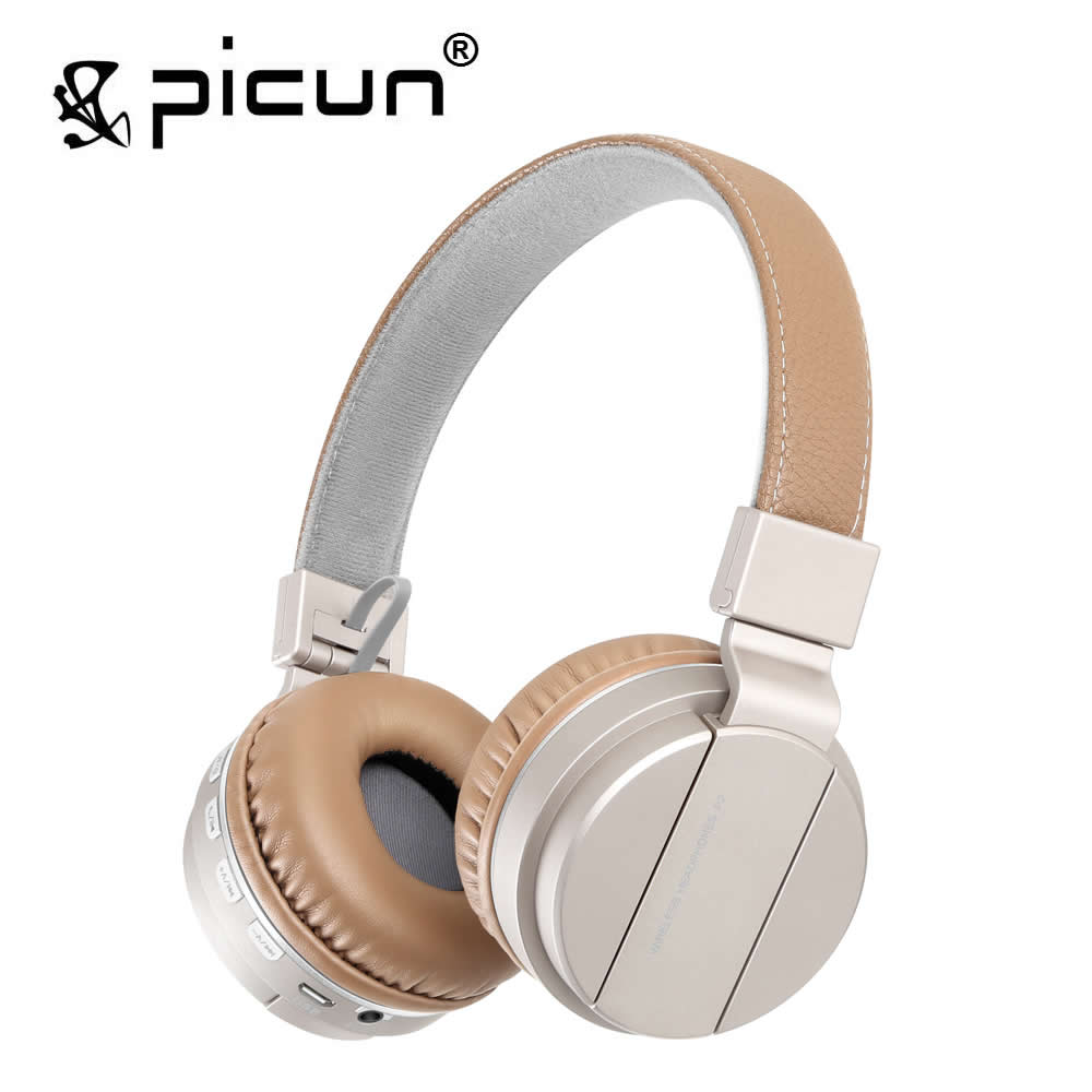 Picun P2 Wireless Bluetooth Headphones Stereo Headsets with Mic Soft Earmuff Earphone Support TF Card FM Radio for Phones