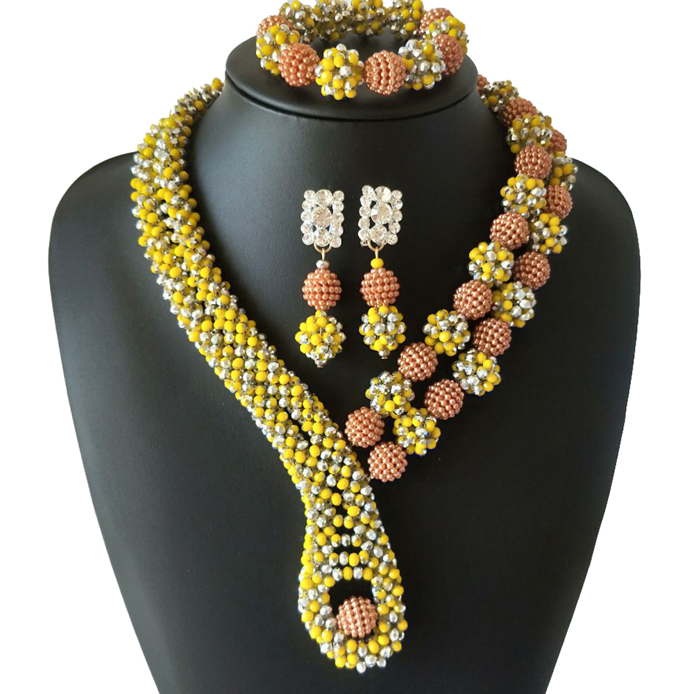 Hand Made Silver Yellow Crystal Beads Jewelry Nigerian Wedding Beads Jewelry African Traditional Bridal Statement Necklace Sets