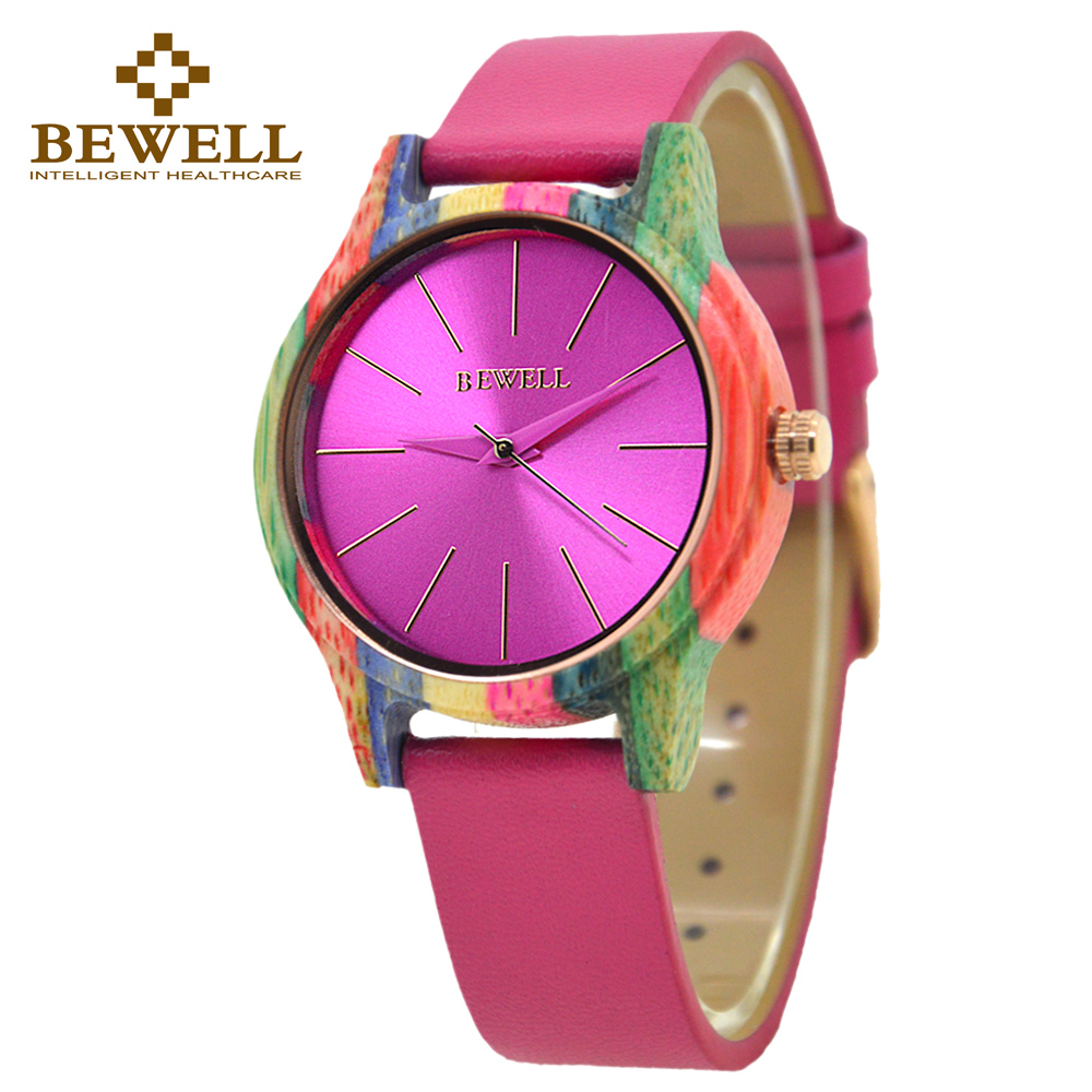 BEWELL 139A Fashion Leather Strap Wooden Case Colorful Bamboo Wood Watch Women Fashion Watch Analog Quartz Wristwatch Roun Dial fashion bamboo wood watch women creative analog quartz sport wristwatch ladies handmade maple wooden watches relojes mujer gifts