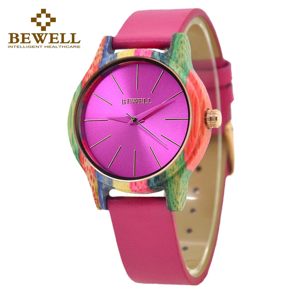 BEWELL 139A modes ādas siksnas koka korpuss krāsains bambusa koka pulkstenis sieviešu modes pulkstenis analogais kvarca rokas pulkstenis