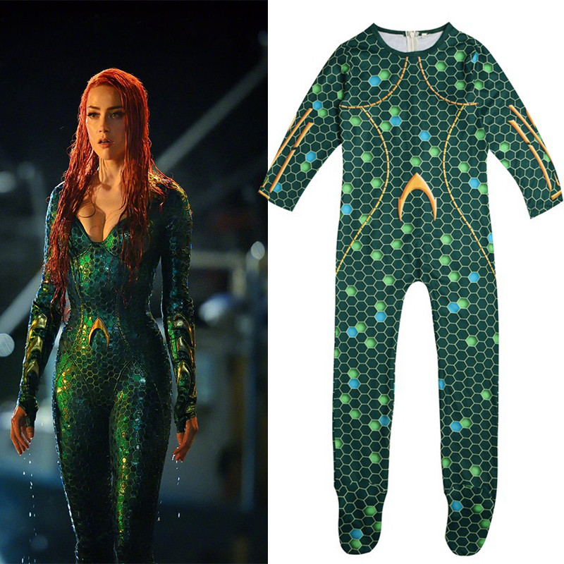 Justice League Aquaman Mera Cosplay Costume Kids Superhero Cosplay Zentai Bodysuit Jumpsuit Halloween Costume for Kids Girls