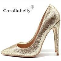 2019 新ケバケバゴールドグリッター靴女性パンプス 8 センチメートル/10 センチメートル/12 センチメートル薄型高かかと革ハイヒールビッグサイズ 45