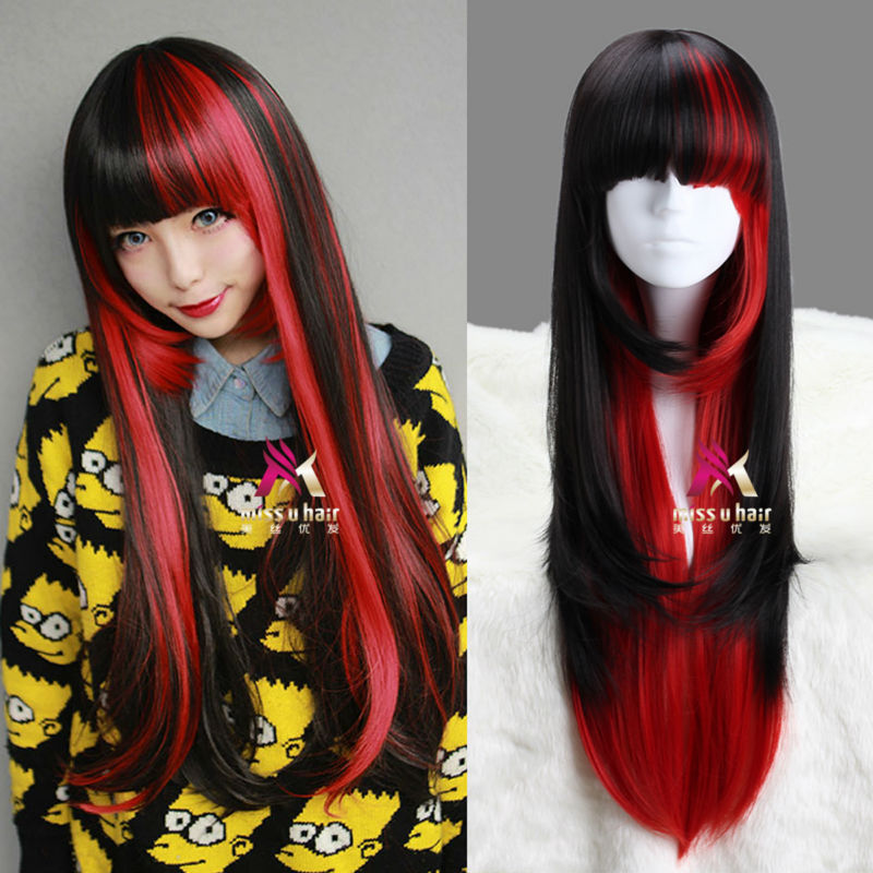 AYAMO 75cm Long Straight Black And Red Beautiful lolita ...