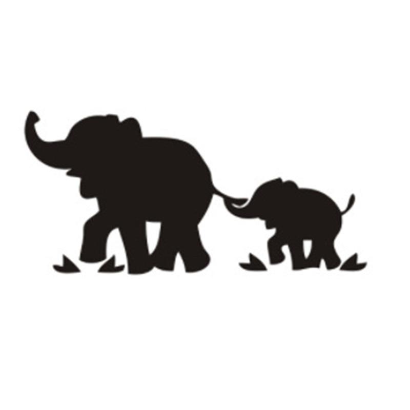 19*8.9cm Cartoon Funny Car Sticker Elephant Mom And Baby Car Body Decals Car Styling For Seat Leon Vw Golf 7 Citroen C5 Kia Ceed