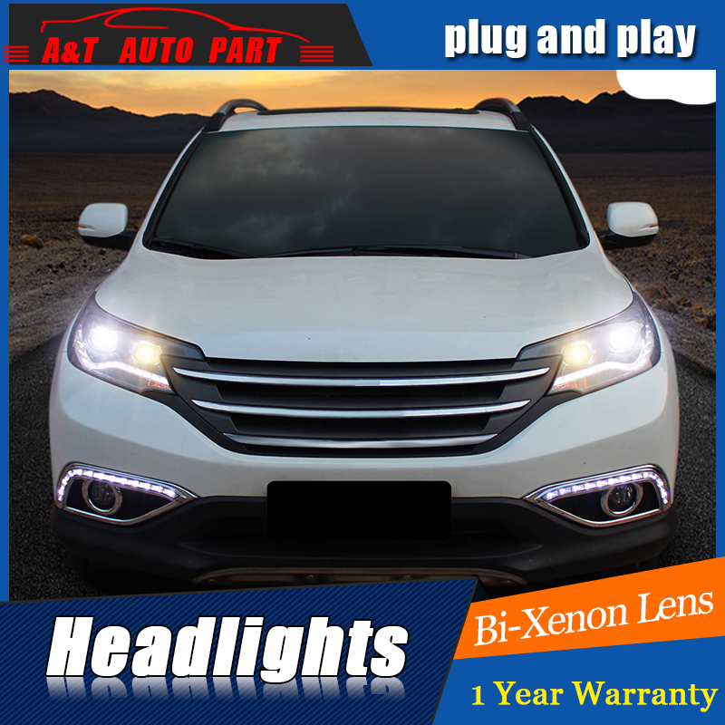 Car Styling For Honda CRV headlight assembly 2012-15 For Honda CRV LED head lamp led DRL front light h7 with hid kit 2pcs. for honda crv 2012 2013 2014 2015 2016 aluminium alloy carrier roof rack side rails bars outdoor travel luggage 2pcs car styling