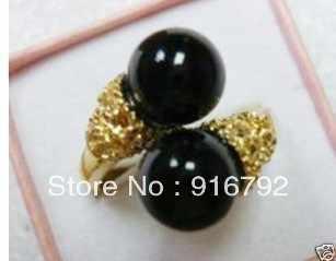 จัดส่งฟรีพีแอนด์พี*******ที่สวยหรูสีดำหินของผู้หญิงแหวน
