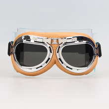 New HOt Retro Aviator Pilot Bikes Cruiser Motorcycle Cycling Goggles Silver Yellow Frame Gray Lens