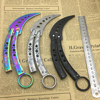 CS GO 440C Stainless Steel Knife Butterfly Practice Butterfly Training Knife Fade Butterfly Knife Mirror Surface