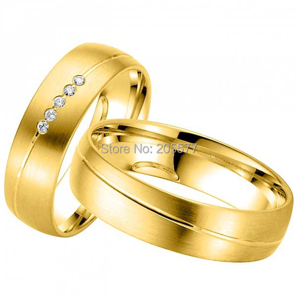 2014 nouveau design beau titane en acier inoxydable bijoux en or jaune placage couple anneaux de mariage pour hommes et femmes