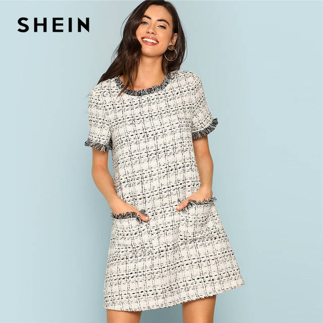 064d2c9638 Online Shop SHEIN Grey Plaid Frayed Edge Button Detail Tweed Dress Elegant  Frill Straight Short Dresses Women Autumn Workwear Mini Dress | Aliexpress  Mobile