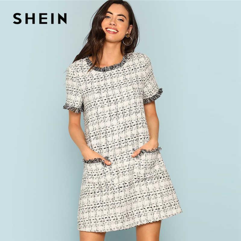9aaba2d876a36 SHEIN Grey Plaid Frayed Edge Button Detail Tweed Dress Elegant Frill  Straight Short Dresses Women Autumn