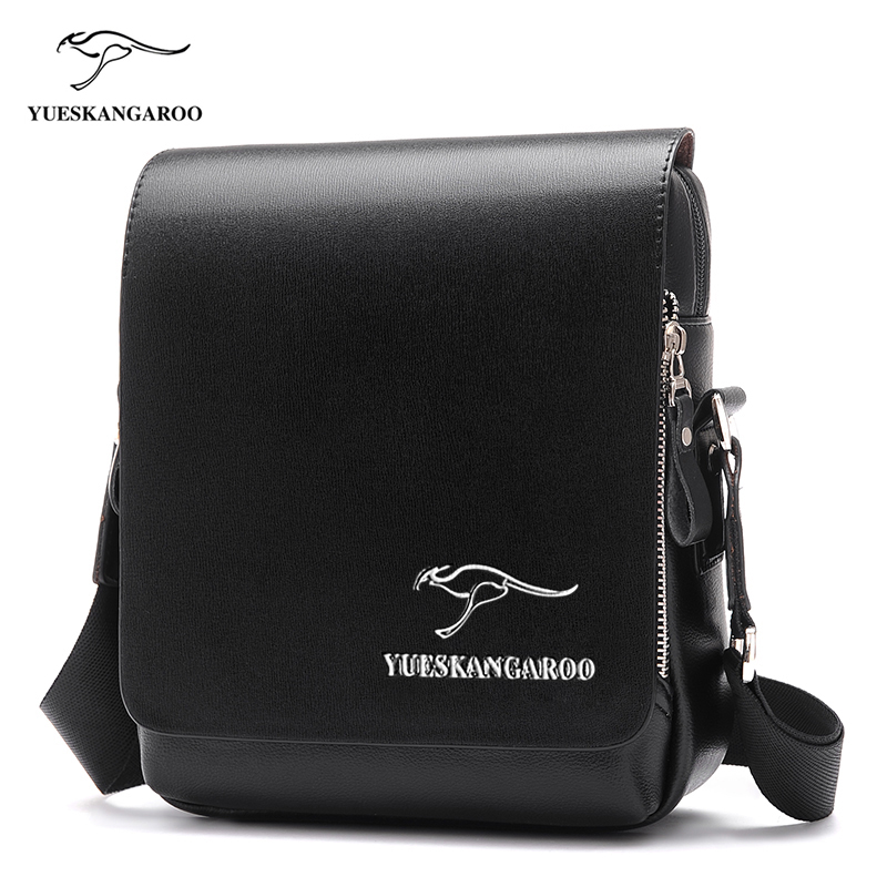 YUES KANGAROO Famous Brand Leather Men Bag Casual Business Mens Messenger Bag Vintage Men's Crossbody shoulder Bag bolsas male polo men shoulder bags famous brand casual business pu leather mens messenger bag vintage men s crossbody bag bolsa male handbag