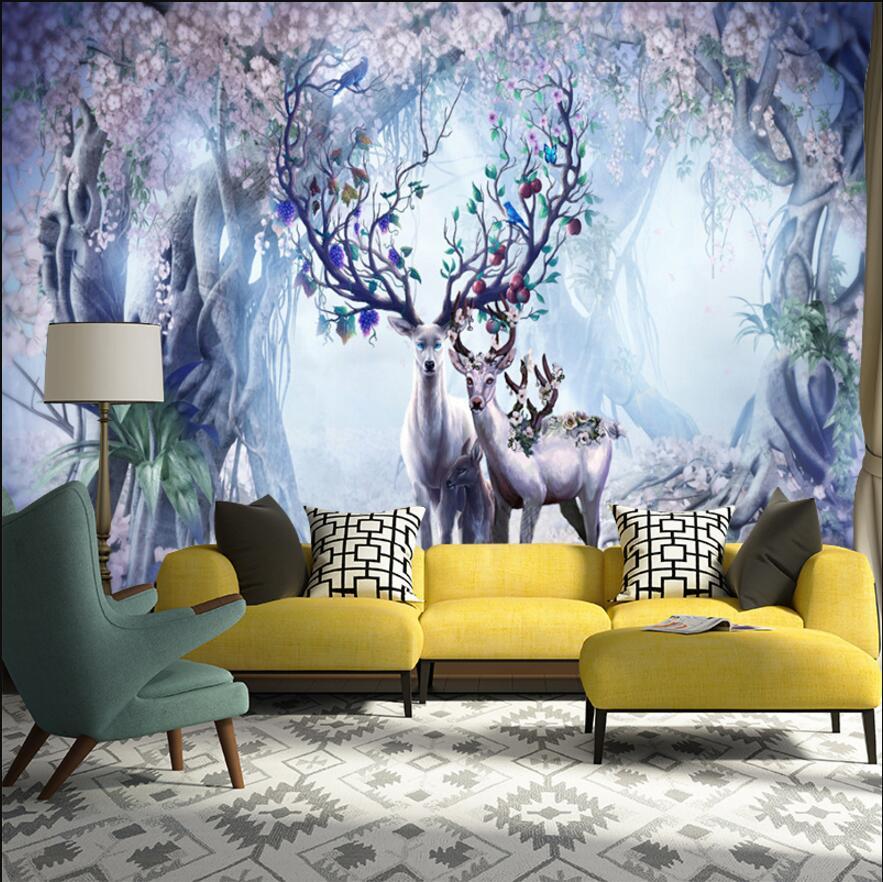 3d dreaming reindeer wall printing murals for wallpaper 3d customer made wall paper