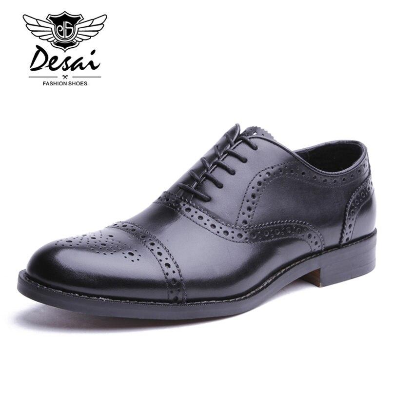 Desai marca masculina de couro genuíno oxfords sapatos masculinos estilo britânico esculpida brogue sapato laço up bullock negócios vestido sapatos apartamentos - 4