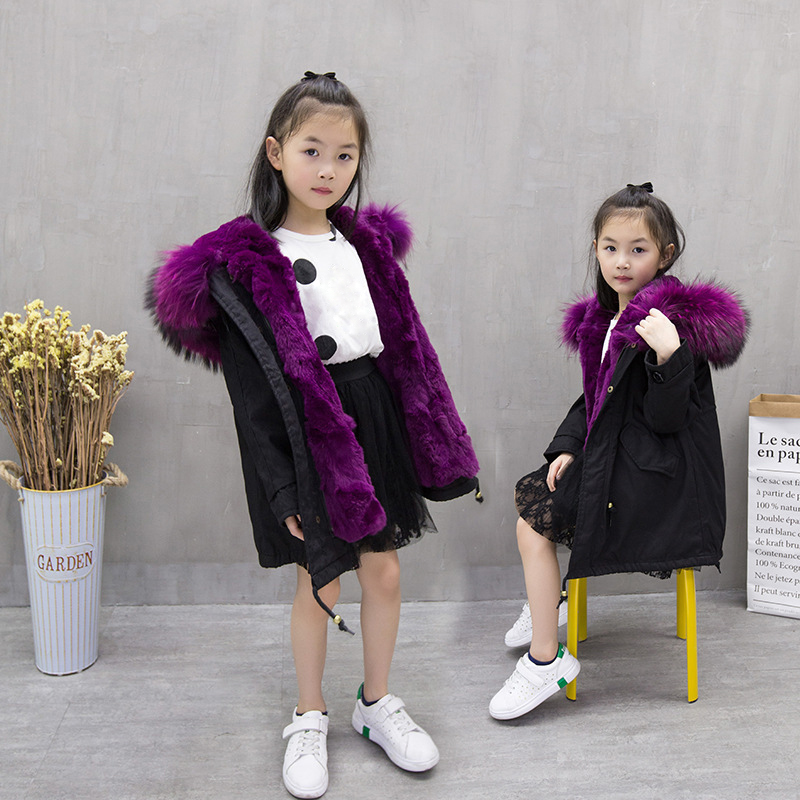 Children Rabbit Fur Coat Warm Girls Down Jackets Boys Winter Parkas Real Raccoon Fur Hooded Coat Jacket For Girls TZ279 new winter down jacket for boys real raccoon fur hooded outerwear kid high quality children 3 16year warm thick down coat