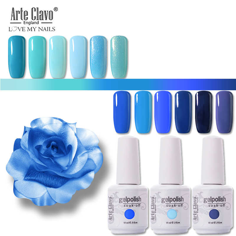 Seni Clavo Kuku Gel UV Varnish LED Lampu Warna Biru 15 Ml Rendam Off Nail Art Lacquer Gel untuk Kuku untuk Manikur Gel Cat Kuku