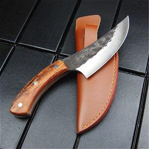 Image 4 - EVERRICH JapaneseHigh stal węglowa nóż obozowy kucie nóż ręcznie przez szefa kuchni tang, w plasterkach z nożem kuchennym, nóż rzeźnicki