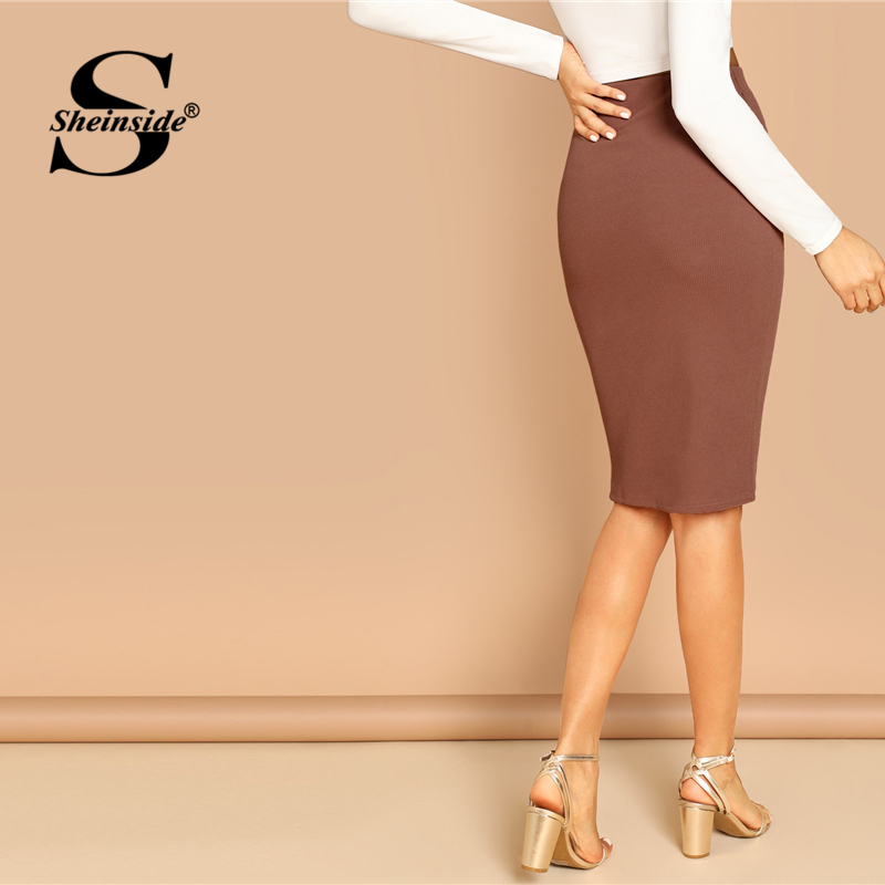 Image 2 - Sheinside Elegant Coffee Bodycon Midi Skirt Women 2019 Spring Mid Waist Pencil Skirts Office Ladies Workwear Solid Skirt-in Skirts from Women's Clothing