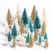 OurWarm 8pcs Wood Mini Christmas Tree Decorations New Year Artificial Fake Pine Table Party Decoration