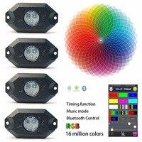 9 W 4 Vainas Multicolores de Neón LED Kit de Luz RGB LED Luces con Bluetooth Controlador de Modo de Función de Sincronización de Música Rock