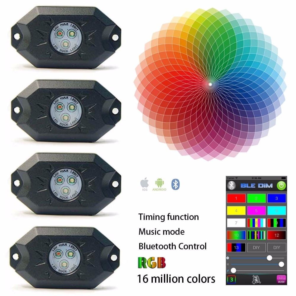 9W 4 Pods Multicolor Neon LED Light Kit RGB LED Rock Lights with Bluetooth Controller Timing Function Music Mode vosicky 4 pods multicolor neon led light kit rgb led rock lights with bluetooth controller for timing music mode flashing