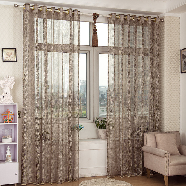 SunnyRain 1 Piece Jacquard Sheer Curtain For Living Room Drapes Curtains  For Bedroom Customizable