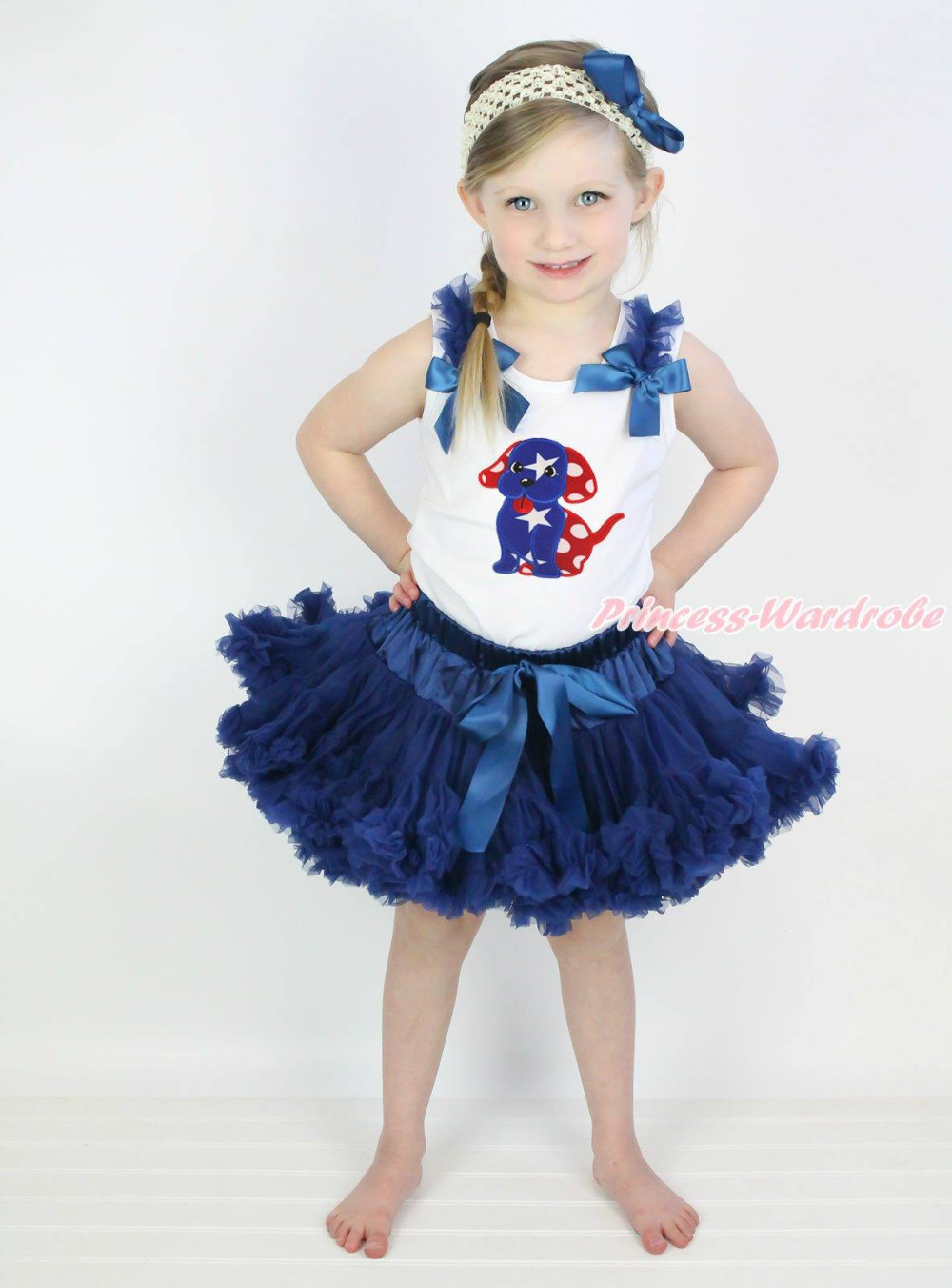 4th July Star Minnie Dog Puppy White Top Navy Blue Skirt Girls Cloth Outfit 1-8Y  MAPSA0787
