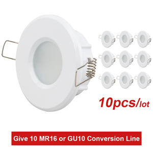 Recessed Shower Downlight Kit Spot Light Fitting Bathroom IP54 GU10 Socket Round LED Bulbs Fixture Ceiling led spotlight Frame(China)