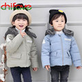 Fashion Unisex Kids Thick Warm Down Coat Detachable Lamb Wool Cap Winter Baby Parka Boys Girls Zipper Outerwear Jacket 2 Colors