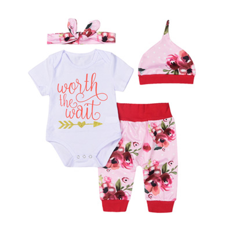 2018 Baby Girls Letter Print Clothes Set Short Sleeve Jumpsuit Romper Pants Hat 3pcs Outfits Girls Lovely Clothing Set 0-24M summer newborn baby girls clothes short sleeve romper bodysuit harem pants hat 3pcs outfits casual cute rainbow baby sets
